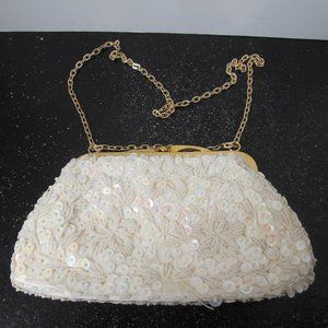 Vintage white and Gold Beaded and Sequin Purse